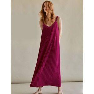 MASSIMO DUTTI pink pleated flowy maxi dress SZ 2